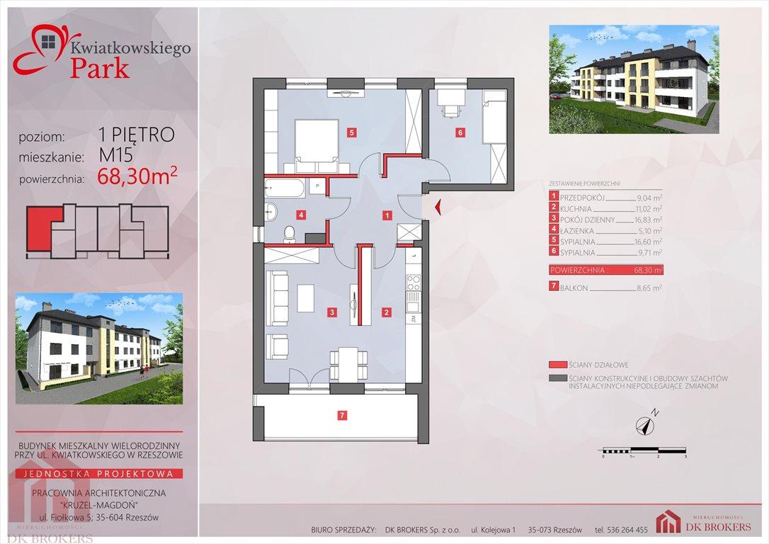 Mieszkanie trzypokojowe na sprzedaż Rzeszów, Drabinianka, al. Eugeniusza Kwiatkowskiego  68m2 Foto 7
