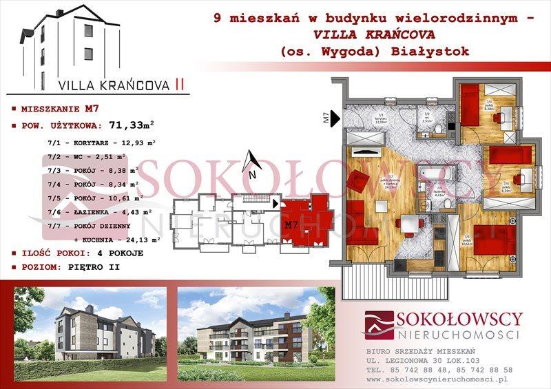 Mieszkanie czteropokojowe  na sprzedaż Białystok, Wygoda, Krańcowa  71m2 Foto 1
