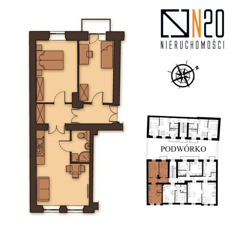 Mieszkanie trzypokojowe na sprzedaż Kraków, Podgórze, Stare Podgórze  57m2 Foto 4