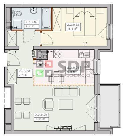 Mieszkanie dwupokojowe na sprzedaż Wrocław, Krzyki, Jagodno, Buforowa  52m2 Foto 2