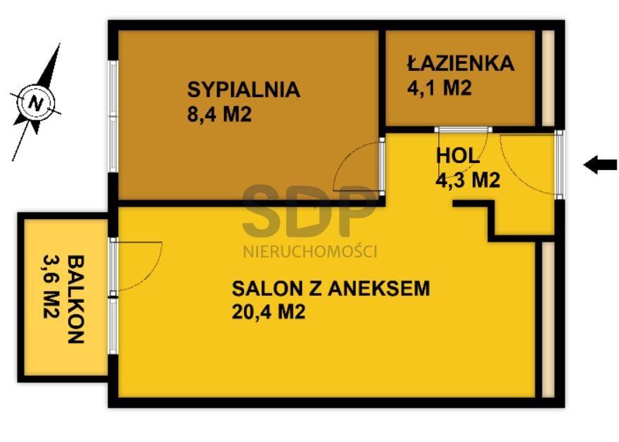 Mieszkanie dwupokojowe na sprzedaż Wrocław, Krzyki, Księże Małe, Księska  37m2 Foto 2