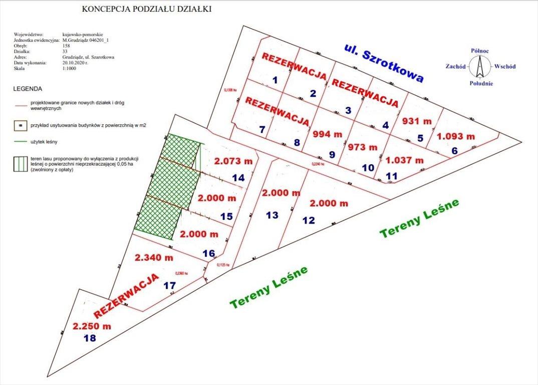 Działka budowlana na sprzedaż Grudziądz, Szarotkowa  1093m2 Foto 1