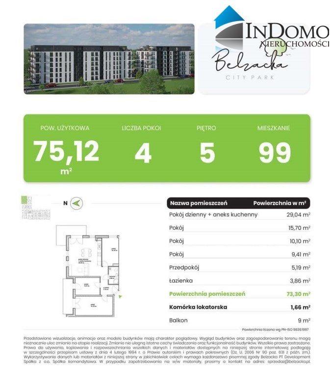 Mieszkanie czteropokojowe  na sprzedaż Piotrków Trybunalski, Belzatka  75m2 Foto 2