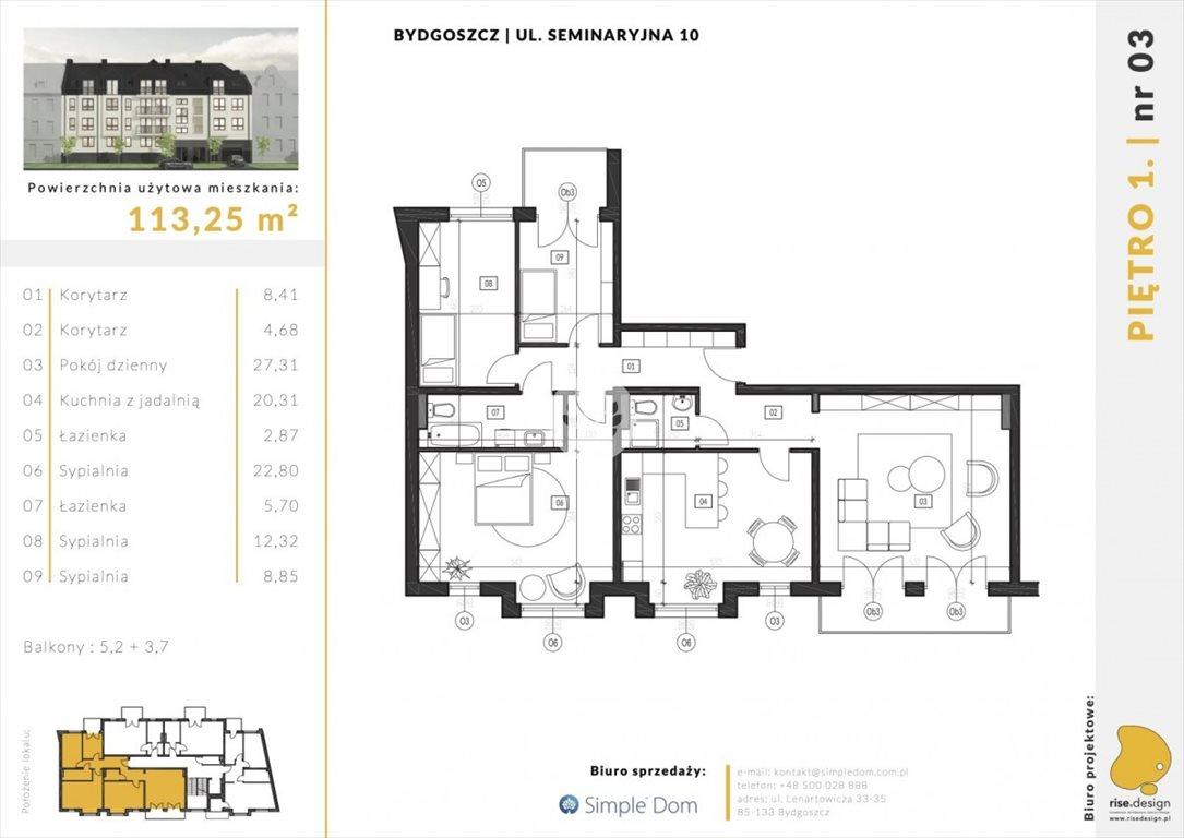 Mieszkanie na sprzedaż Bydgoszcz, Błonie, Seminaryjna  113m2 Foto 5
