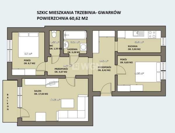 Mieszkanie trzypokojowe na sprzedaż Trzebinia, Siersza, Gwarków  61m2 Foto 2