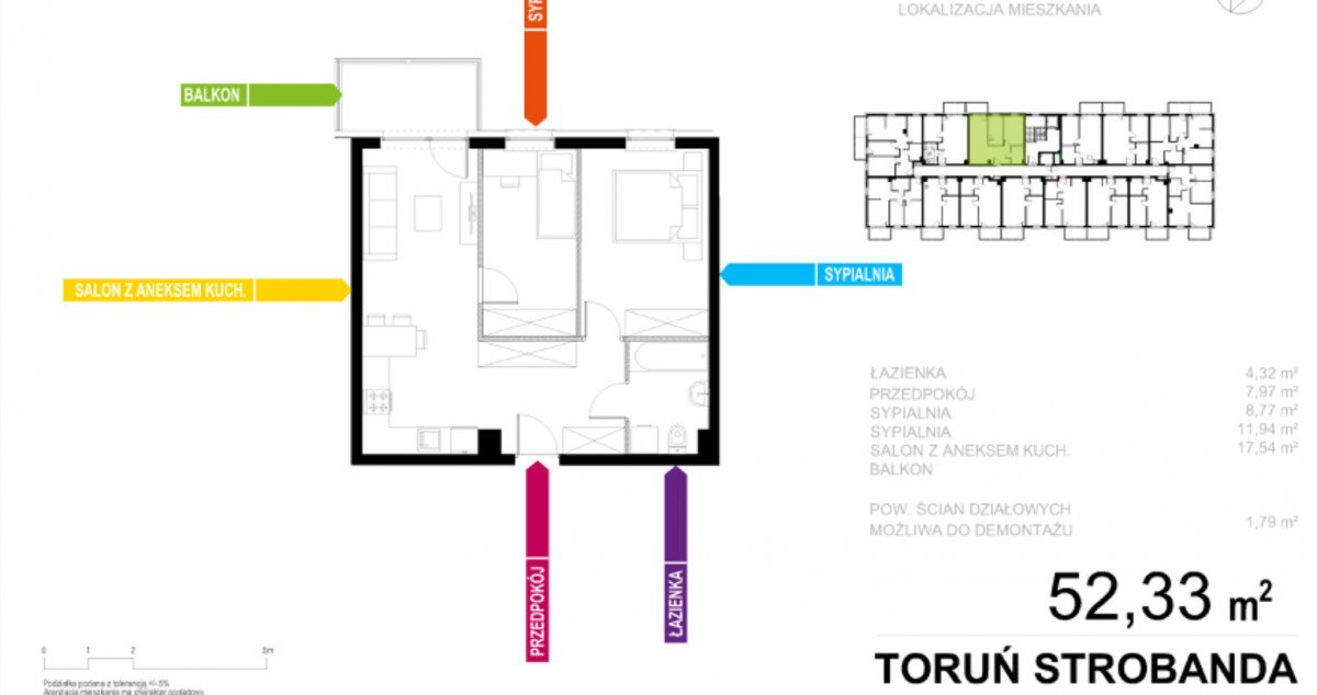 Mieszkanie trzypokojowe na sprzedaż Toruń, Henryka Strobanda  50m2 Foto 1
