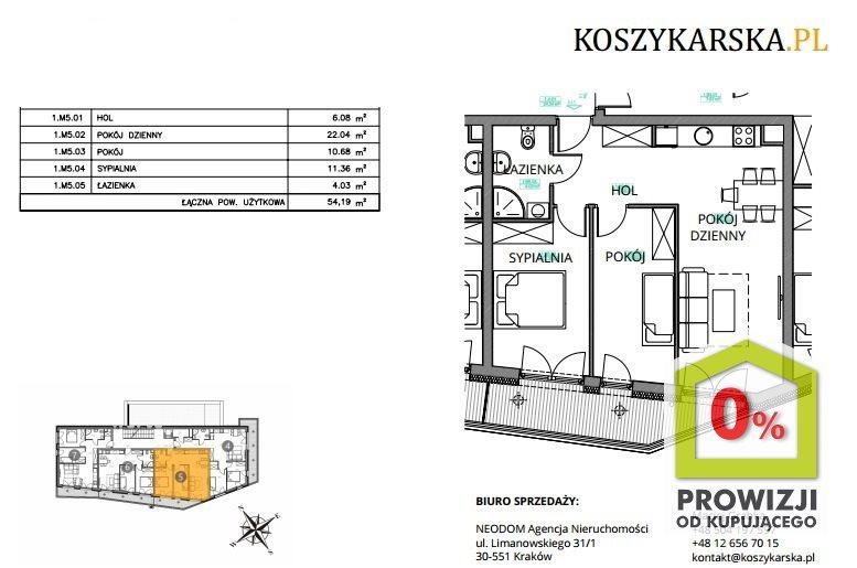 Mieszkanie trzypokojowe na sprzedaż Kraków, Podgórze, Płaszów, Koszykarska  54m2 Foto 5
