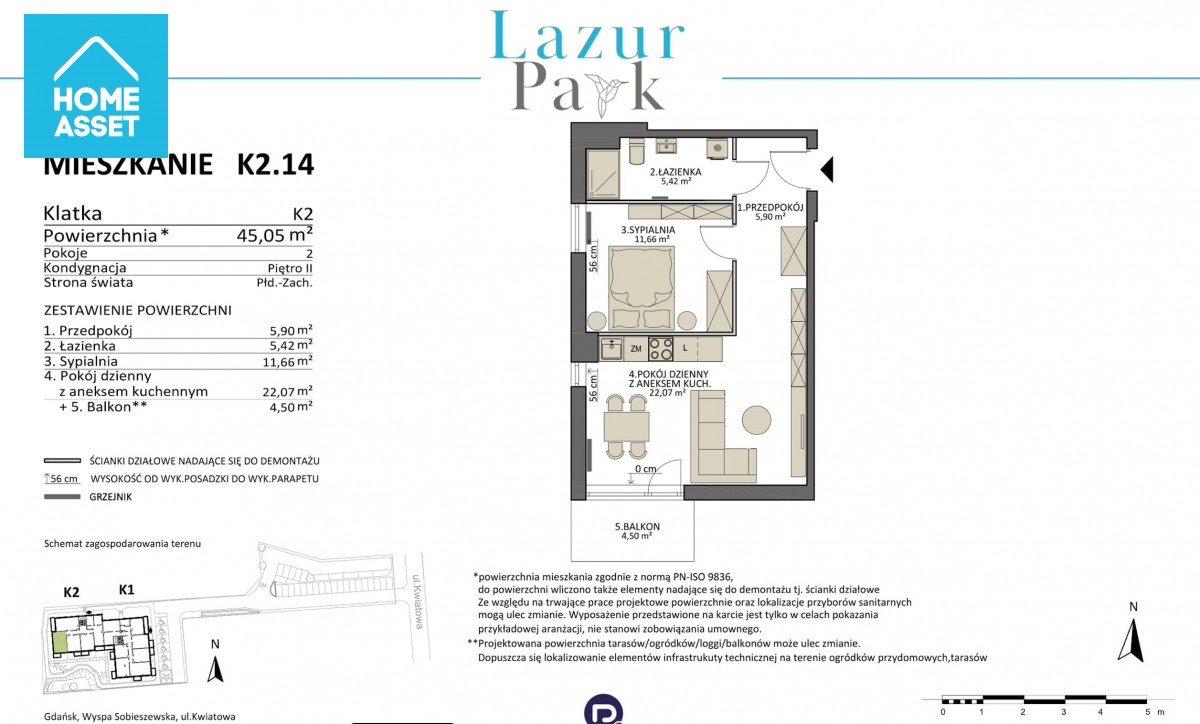 Mieszkanie dwupokojowe na sprzedaż Gdańsk, Komary, Kwiatowa  45m2 Foto 3