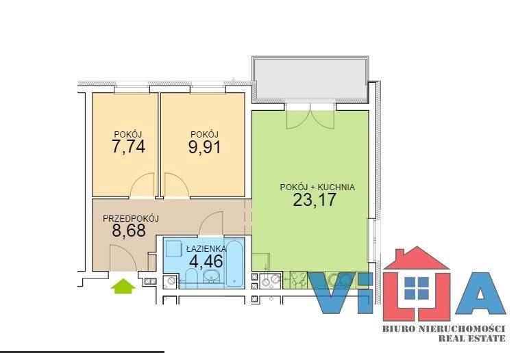 Mieszkanie trzypokojowe na sprzedaż Zielona Góra, os. Czarkowo  54m2 Foto 3