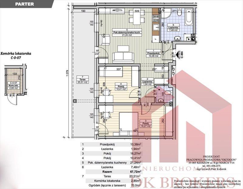 Mieszkanie trzypokojowe na sprzedaż Rzeszów, Biała, Makuszyńskiego  68m2 Foto 2