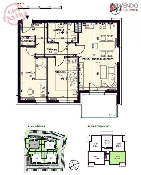 Mieszkanie trzypokojowe na sprzedaż Pobiedziska, gen. Tadeusza Kutrzeby  57m2 Foto 1