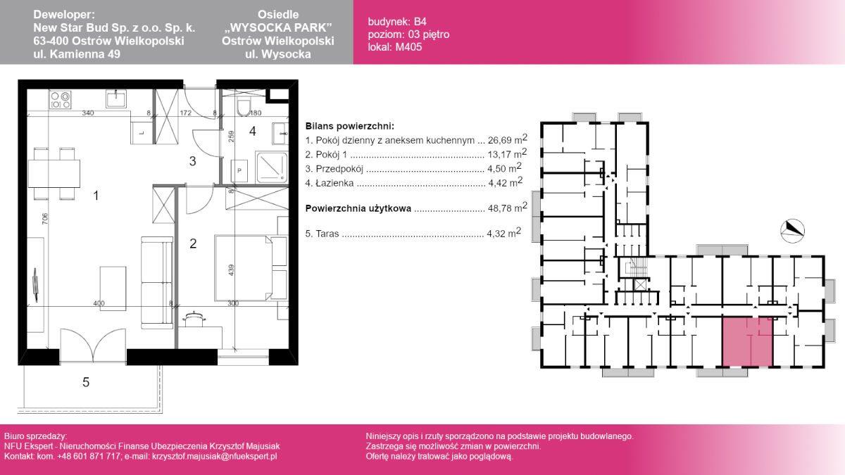 Mieszkanie dwupokojowe na sprzedaż Ostrów Wielkopolski, Wysocka  50m2 Foto 1