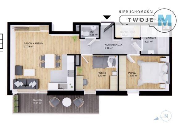 Mieszkanie trzypokojowe na sprzedaż Kielce, Sady  66m2 Foto 1