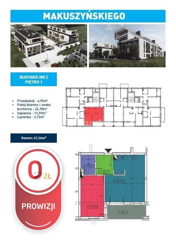Mieszkanie dwupokojowe na sprzedaż Rzeszów, Dębina, Kornela Makuszyńskiego  47m2 Foto 6