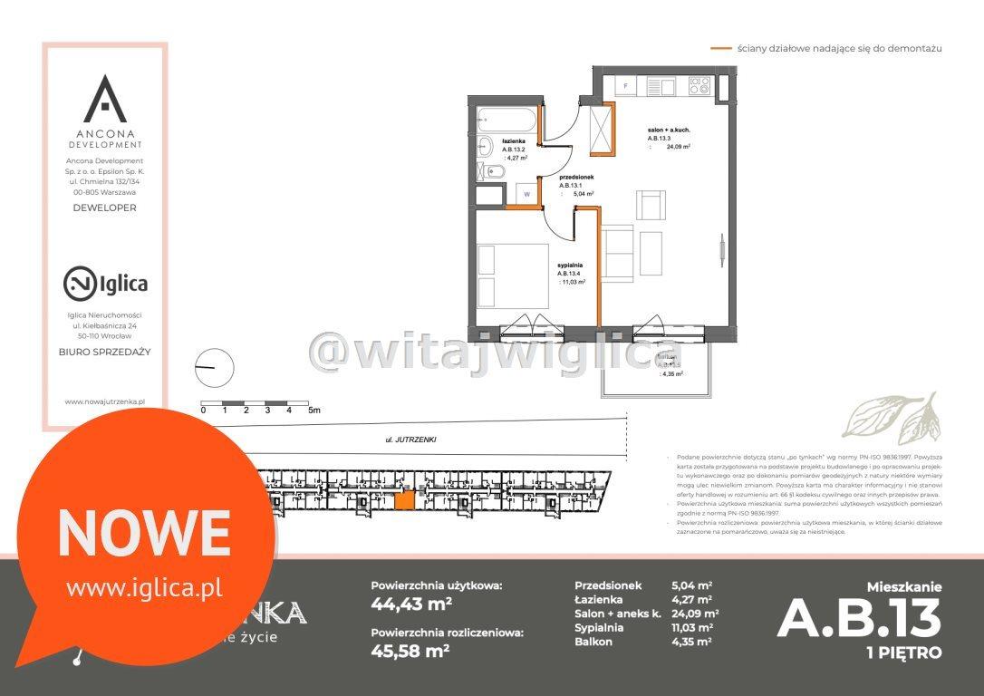 Mieszkanie dwupokojowe na sprzedaż Wrocław, Krzyki, Klecina, Jutrzenki  46m2 Foto 2