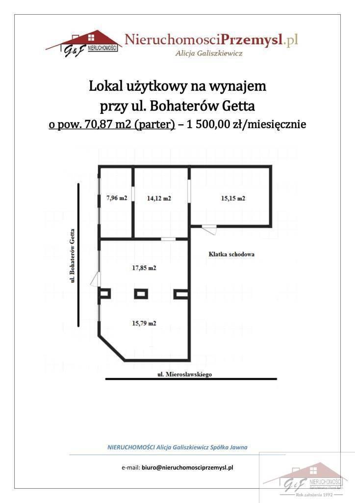 Lokal użytkowy na wynajem Przemyśl, Ludwika Mierosławskiego  71m2 Foto 11