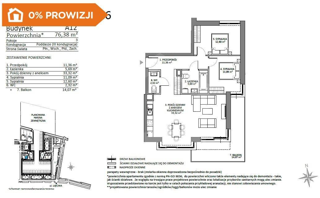 Mieszkanie trzypokojowe na sprzedaż Gdańsk, Sobieszewo  76m2 Foto 1