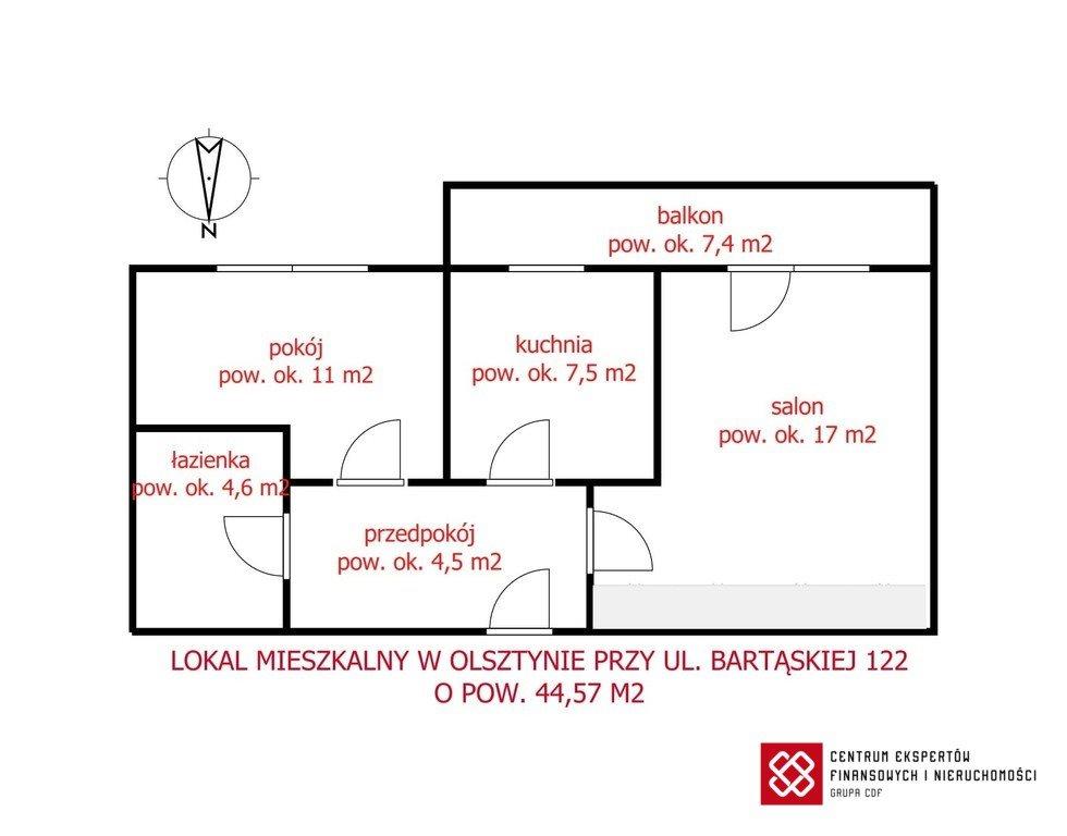 Mieszkanie dwupokojowe na sprzedaż Olsztyn, Bartąska  45m2 Foto 9