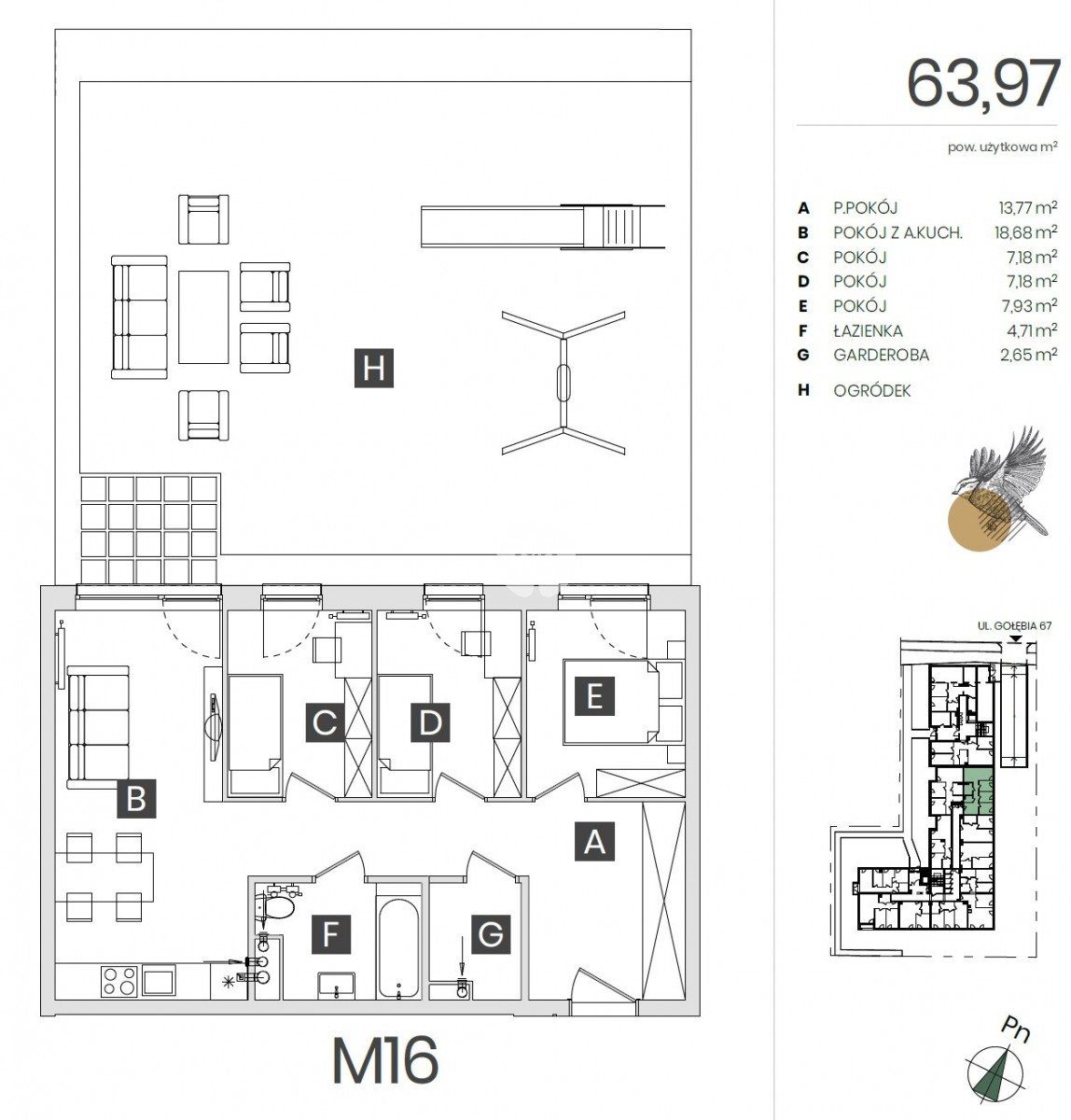 Mieszkanie czteropokojowe  na sprzedaż Bydgoszcz, Górzyskowo, Gołębia  64m2 Foto 3