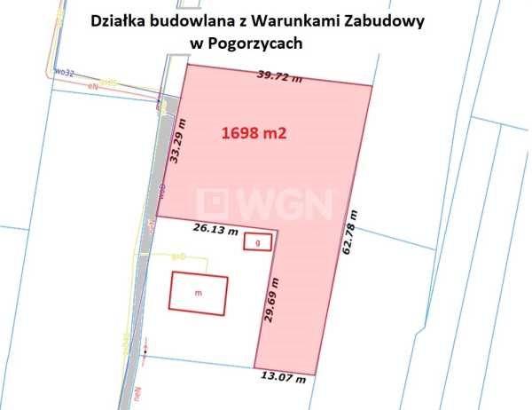 Działka budowlana na sprzedaż Pogorzyce, Pogorzyce  1698m2 Foto 2