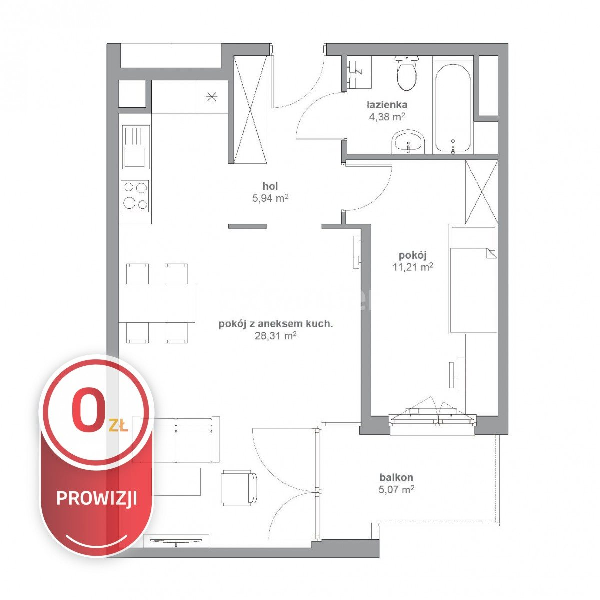Mieszkanie dwupokojowe na sprzedaż Katowice, Koszutka, Opolska  50m2 Foto 2