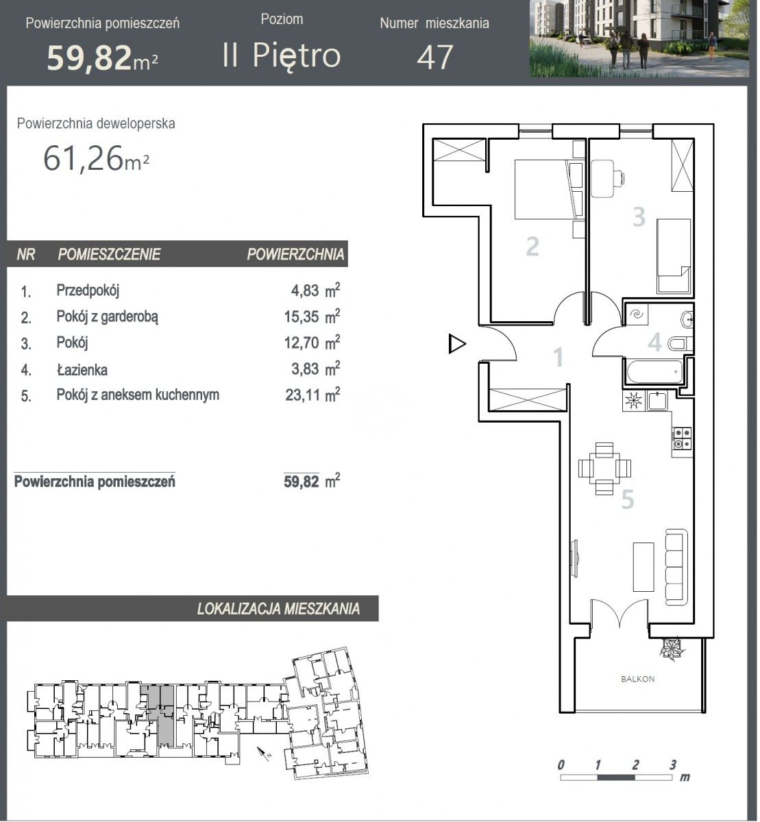 Mieszkanie trzypokojowe na sprzedaż Bydgoszcz, Szwederowo, Stanisława Leszczyńskiego  61m2 Foto 5