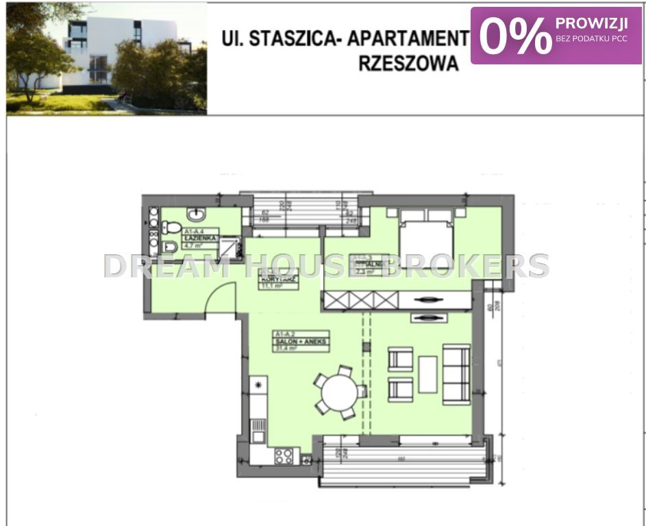 Mieszkanie dwupokojowe na sprzedaż Rzeszów, Staromieście, Staszica  65m2 Foto 7