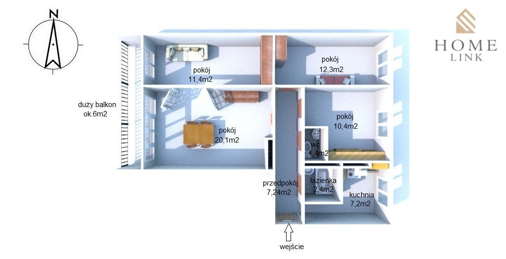 Mieszkanie czteropokojowe  na wynajem Olsztyn, Śródmieście  72m2 Foto 5