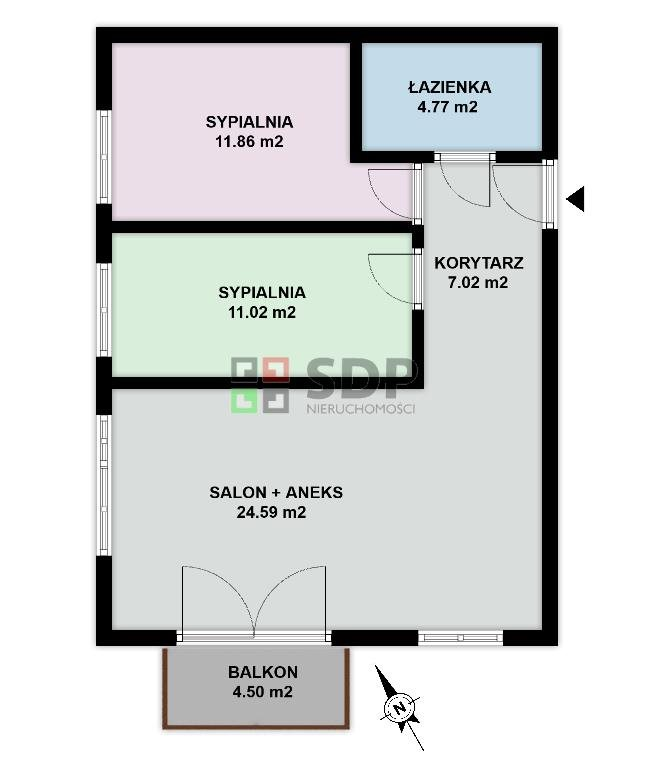 Mieszkanie trzypokojowe na sprzedaż Wrocław, Psie Pole, Zakrzów, Królewska  59m2 Foto 2