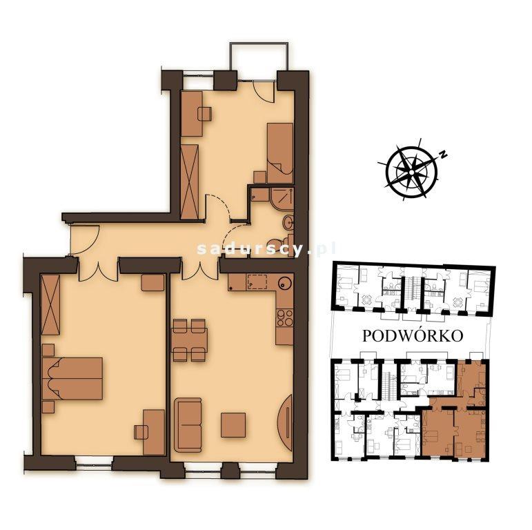 Mieszkanie dwupokojowe na sprzedaż Kraków, Podgórze, Stare Podgórze, Kalwaryjska  76m2 Foto 3