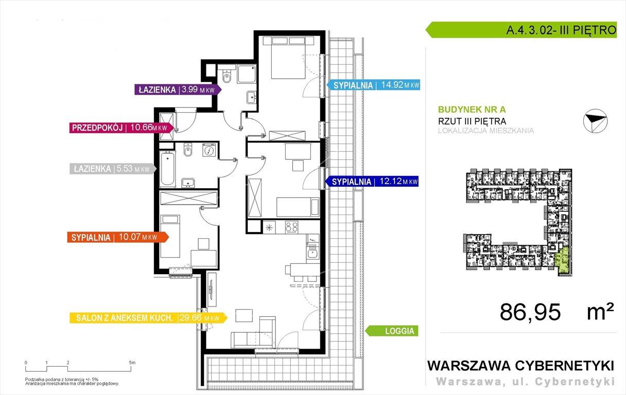Mieszkanie czteropokojowe  na sprzedaż Warszawa, Mokotów, Cybernetyki  87m2 Foto 1