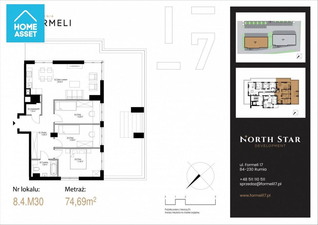 Mieszkanie czteropokojowe  na sprzedaż Rumia, Apolinarego Formeli  75m2 Foto 4
