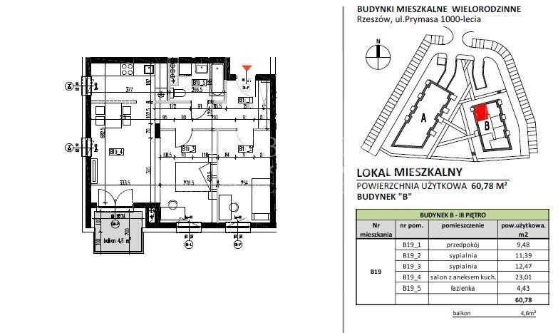 Mieszkanie trzypokojowe na sprzedaż Rzeszów, Baranówka, Prymasa 1000-lecia  61m2 Foto 6