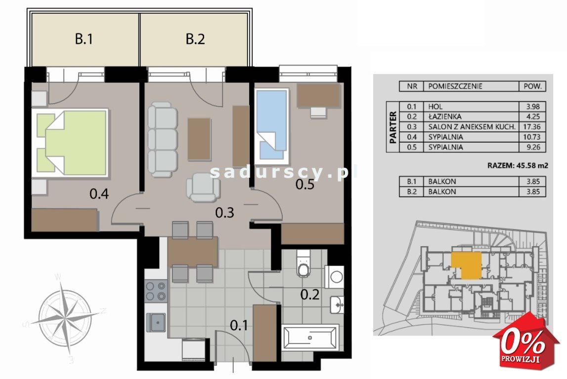 Mieszkanie trzypokojowe na sprzedaż Kraków, Podgórze, Płaszów, Saska - okolice  46m2 Foto 3