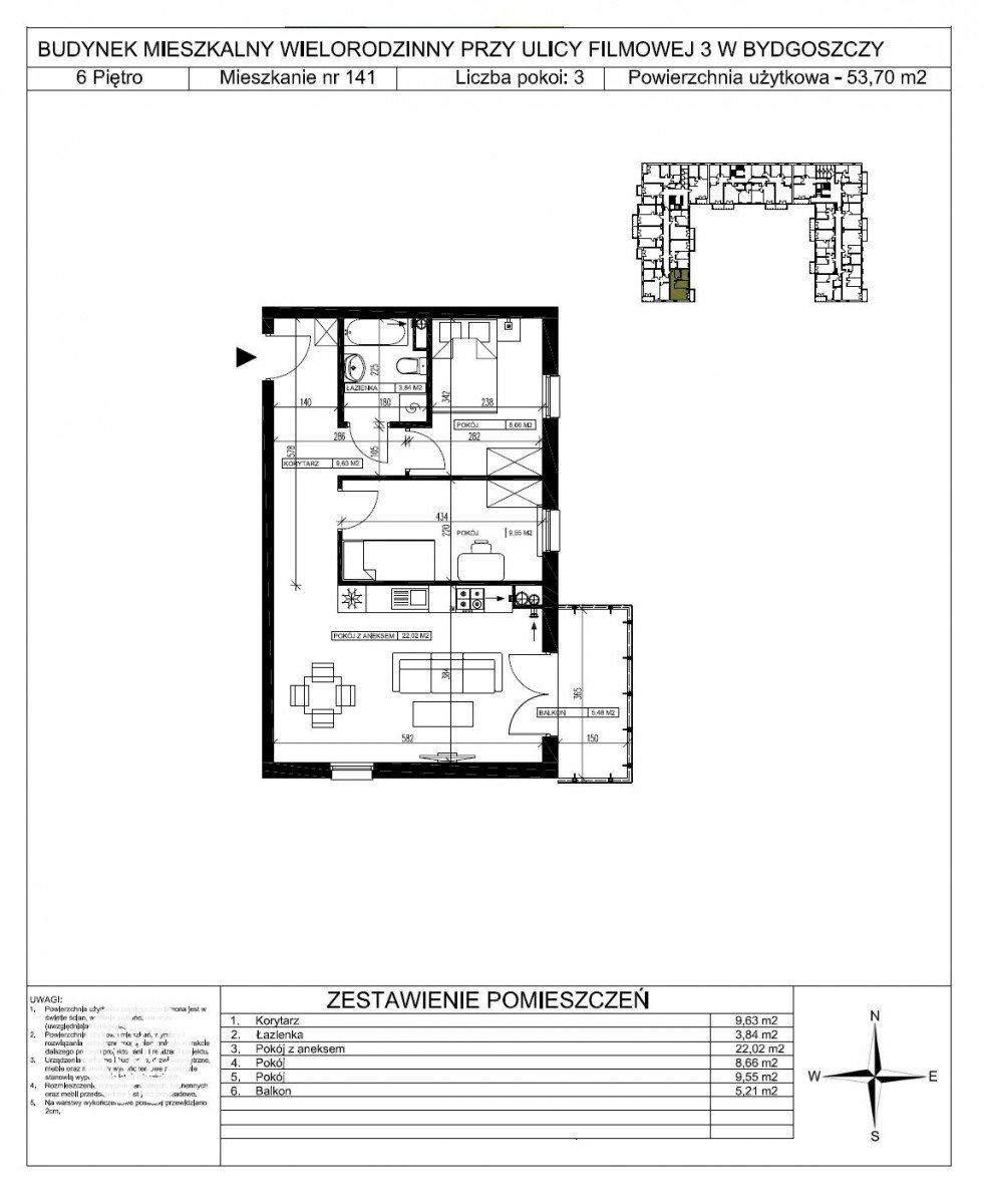 Mieszkanie trzypokojowe na sprzedaż Bydgoszcz, Bartodzieje Małe, Filmowa  54m2 Foto 5