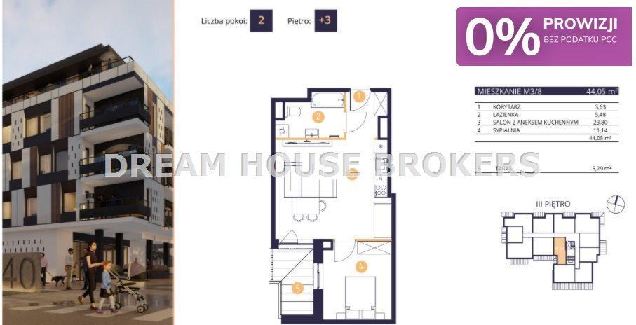 Mieszkanie dwupokojowe na sprzedaż Rzeszów, Drabinianka, Strażacka  44m2 Foto 2