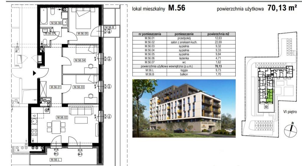 Mieszkanie czteropokojowe  na sprzedaż Rzeszów, Krakowska  70m2 Foto 2