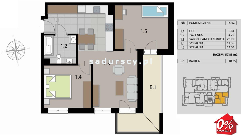 Mieszkanie trzypokojowe na sprzedaż Kraków, Podgórze, Płaszów, Saska - okolice  58m2 Foto 12