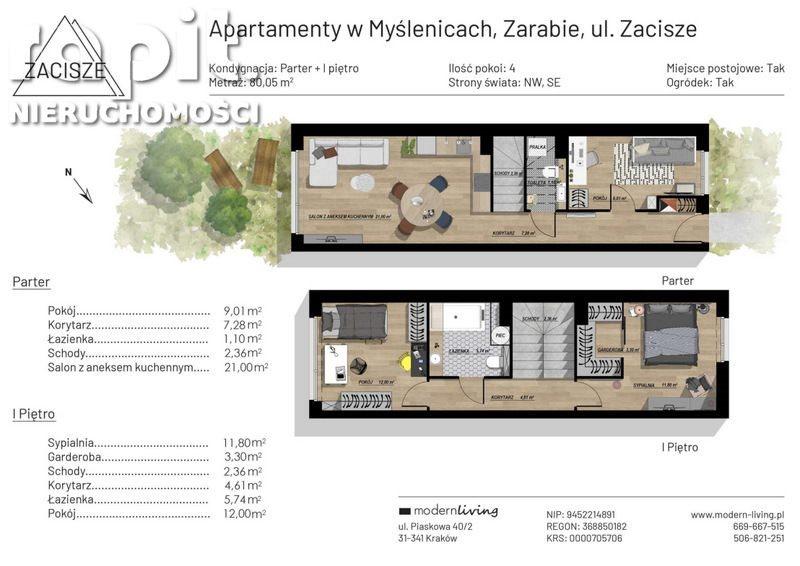 Mieszkanie czteropokojowe  na sprzedaż Myślenice, Zarabie  80m2 Foto 2