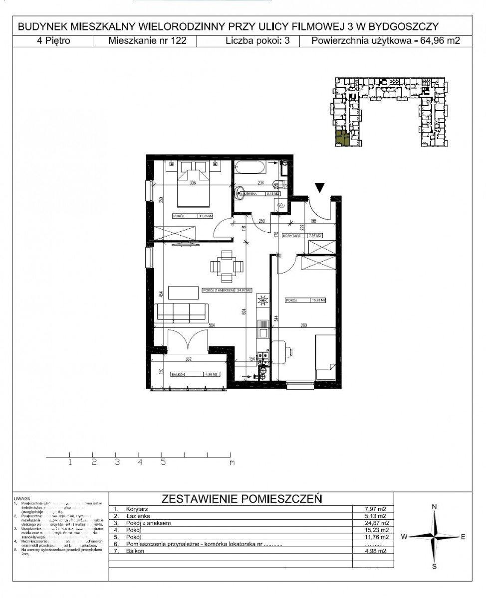 Mieszkanie trzypokojowe na sprzedaż Bydgoszcz, Bartodzieje Małe, Filmowa  65m2 Foto 5