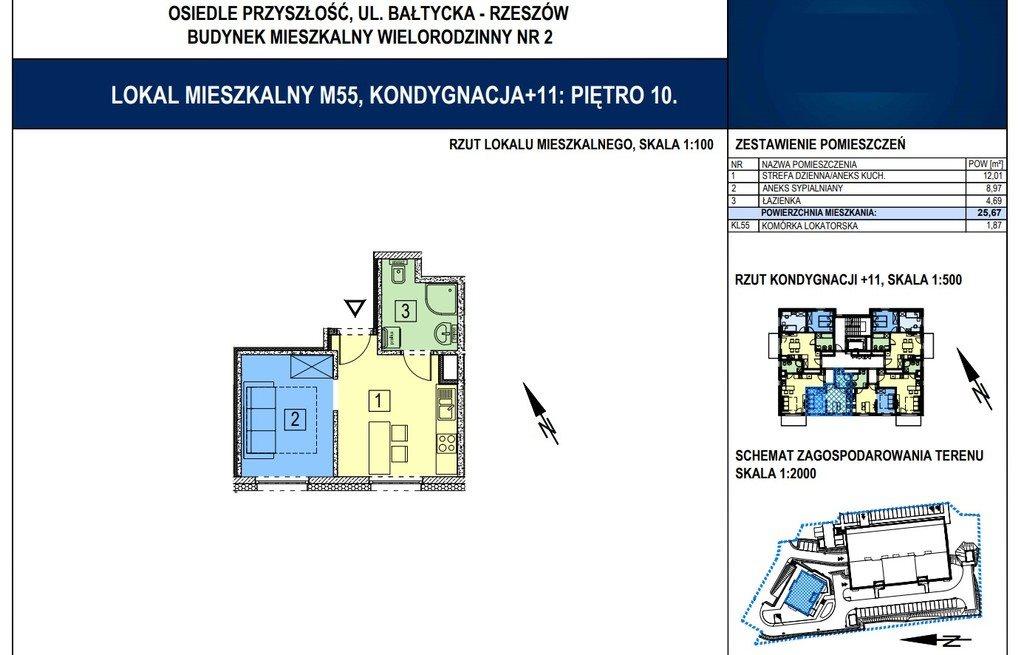 Mieszkanie dwupokojowe na sprzedaż Rzeszów, Bałtycka  26m2 Foto 2