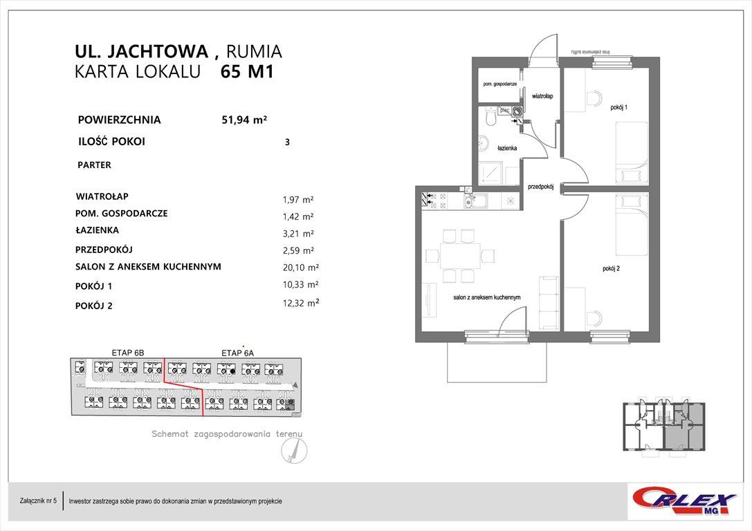 Mieszkanie trzypokojowe na sprzedaż Rumia, Jachtowa 101-131  52m2 Foto 6