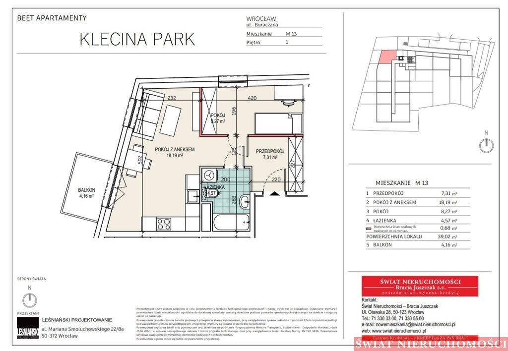 Mieszkanie dwupokojowe na sprzedaż Wrocław, Krzyki, Buraczana  39m2 Foto 2