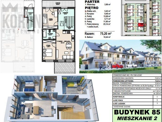 Mieszkanie trzypokojowe na sprzedaż Porosły  75m2 Foto 1
