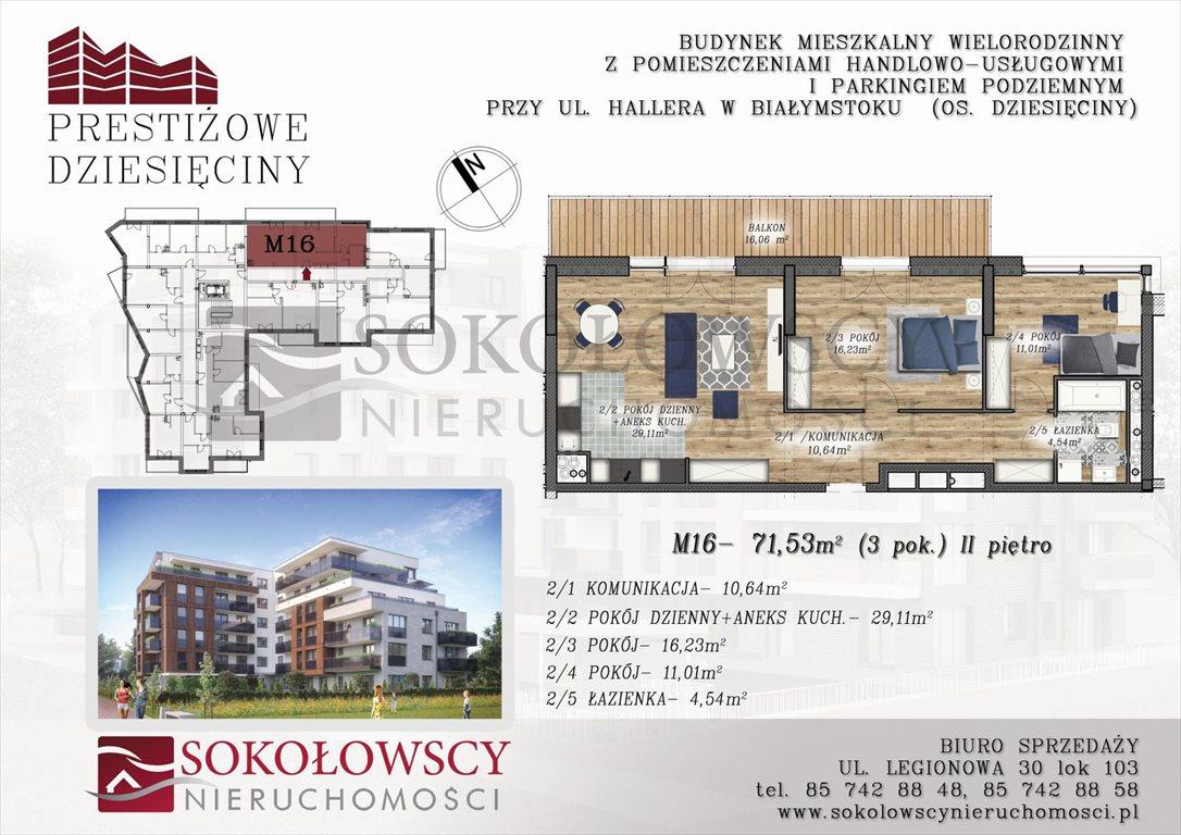 Mieszkanie trzypokojowe na sprzedaż Białystok, ul. Generała Józefa Hallera  72m2 Foto 2