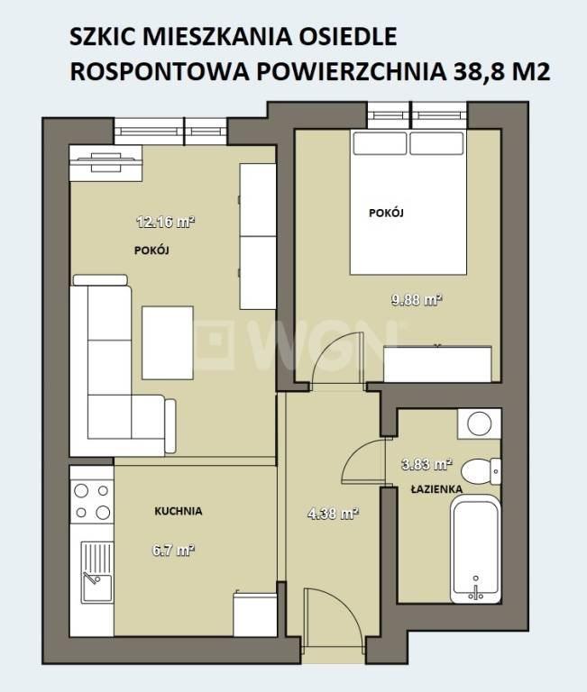 Mieszkanie dwupokojowe na sprzedaż Chrzanów, Kolonia Rosponotwa, Fabryczna  41m2 Foto 2