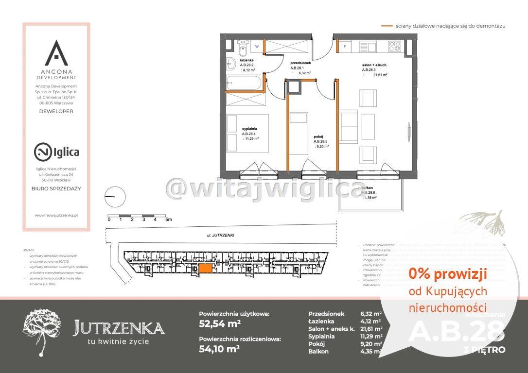 Mieszkanie trzypokojowe na sprzedaż Wrocław, Krzyki, Klecina, Jutrzenki  53m2 Foto 2