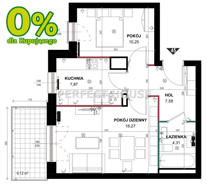 Mieszkanie dwupokojowe na sprzedaż Zalasewo  49m2 Foto 5