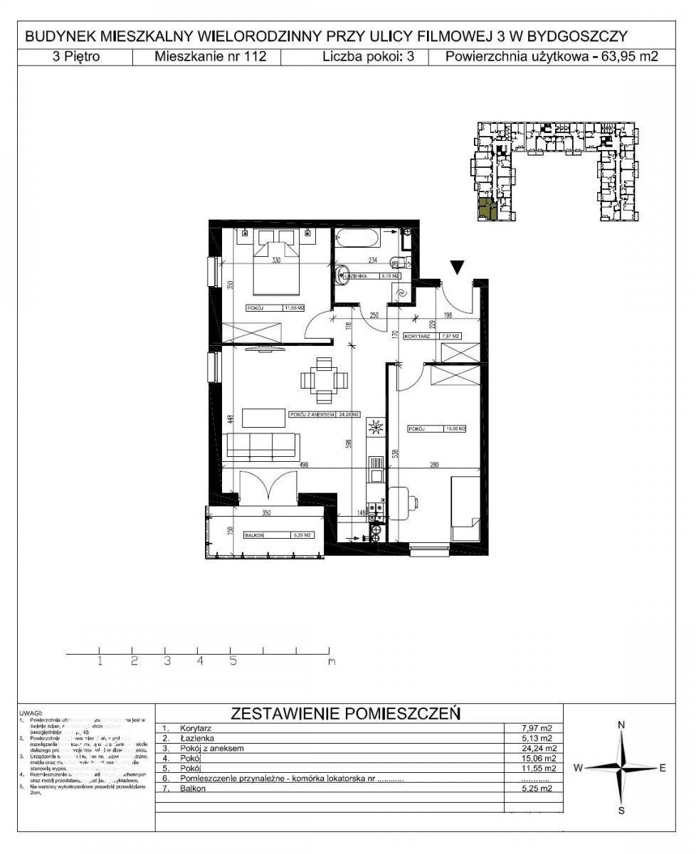 Mieszkanie trzypokojowe na sprzedaż Bydgoszcz, Bartodzieje Małe, Filmowa  64m2 Foto 5