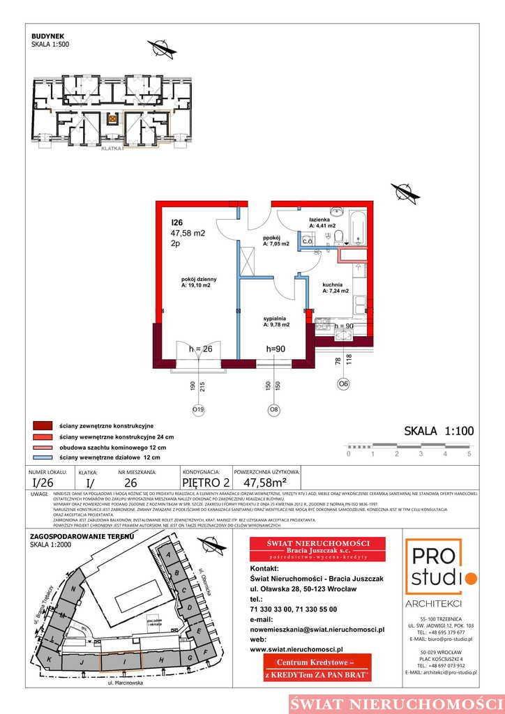 Mieszkanie dwupokojowe na sprzedaż Trzebnica  48m2 Foto 2